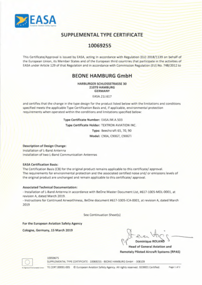 BeOne erhält erstes Supplement Type Certificate